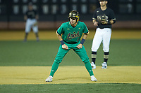 Spencer Myers (2) of the Notre Dame Fighting Irish takes his lead off of second base against the Wake Forest Demon Deacons at David F. Couch Ballpark on March 10, 2019 in  Winston-Salem, North Carolina. The Fighting Irish defeated the Demon Deacons 8-7 in 10 innings in game two of a double-header. (Brian Westerholt/Four Seam Images)