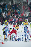 HOLMENKOLLEN, OSLO, NORWAY - March 16: (R-L) Francois Braud of France (FRA), Christoph Bieler of Austria (AUT) and Sebastien Lacroix of France (FRA) during the cross country 15 km (2 x 7.5 km) competition at the FIS Nordic Combined World Cup on March 16, 2013 in Oslo, Norway. (Photo by Dirk Markgraf)