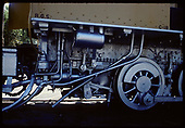 Detail of  firebox area of RGS #41 beneath cab at Knott's Berry Farm.<br /> RGS (D&amp;RG)  Buena Park, CA  ca. 1970-1979