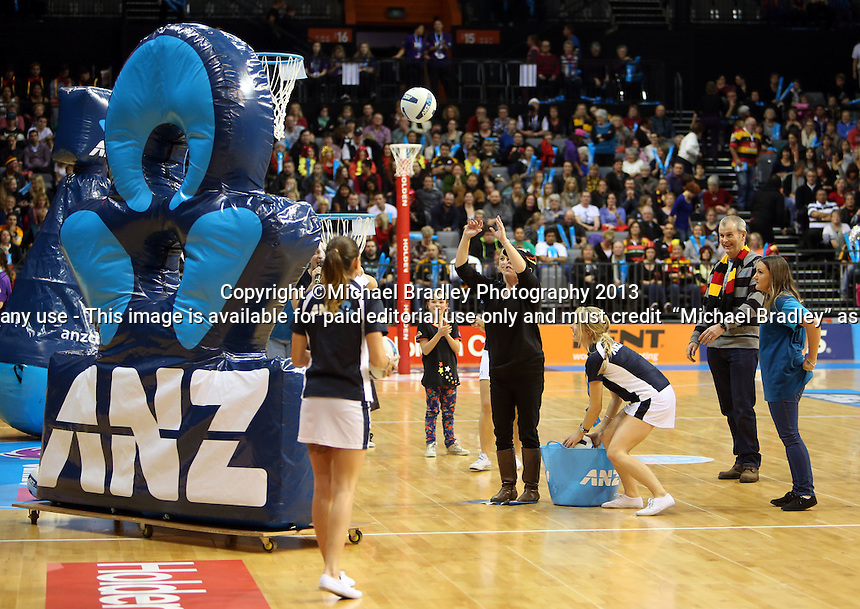 30.06.2013 Action during the ANZ Champs Preliminary Semi Final netball match between the Magic and Firebirds played at Claudelands Arena in Hamilton. Mandatory Photo Credit ©Michael Bradley.