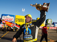 Feb 12, 2017; Pomona, CA, USA; NHRA funny car driver Matt Hagan celebrates after winning the Winternationals at Auto Club Raceway at Pomona. Mandatory Credit: Mark J. Rebilas-USA TODAY Sports