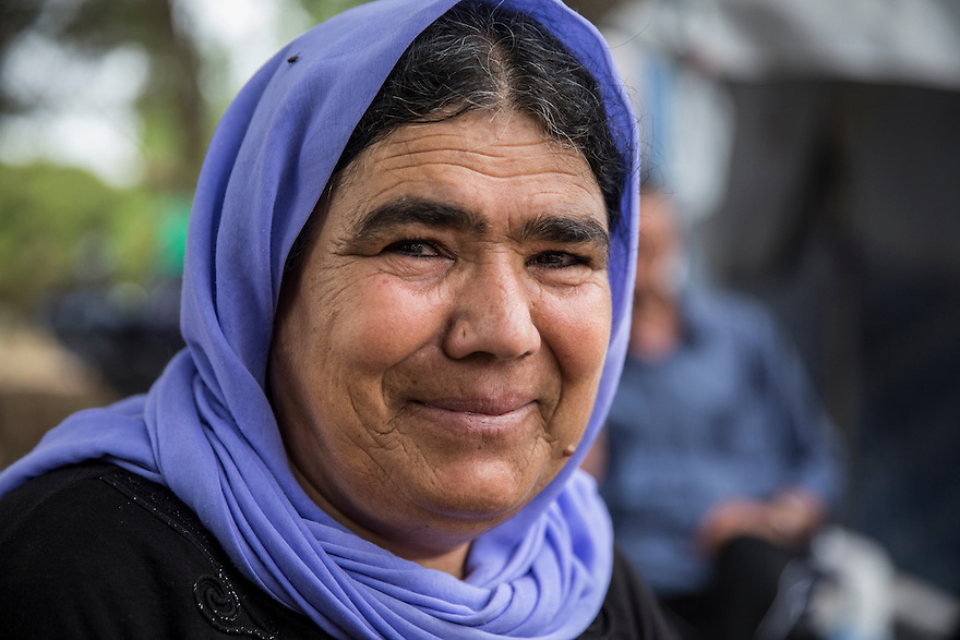 Seydu is the matriarch of the Noh family, who are Yazidi, immigrated from Iraq due to the ISIS threat nearby. They are now stuck in Greece and living in Ritsona, a refugee camp outside of Athens. PHOTO BY JODI HILTON/PULITZER CENTER