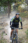 "Coron Polley trying out a new singletrack at Echo Ridge called ""dust to Glory."""