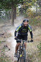 """Coron Polley trying out a new singletrack at Echo Ridge called """"dust to Glory."""""""