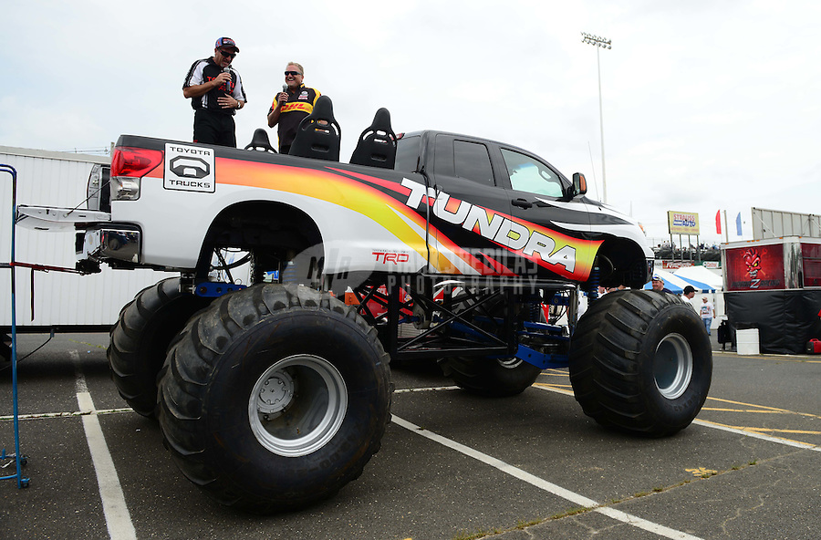 1-3 June, 2012, Englishtown, NJ, USA, Jeff Arend, DHL, funny car, Toyota Tundra, Pit Pass @2012, Mark J. Rebilas