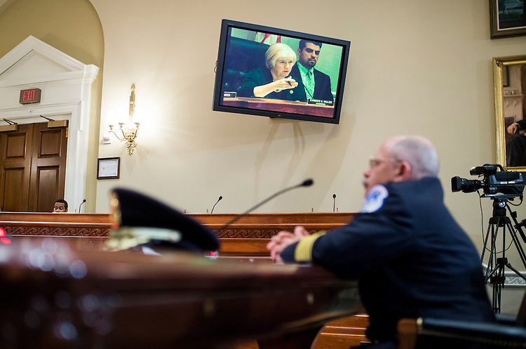 UNITED STATES - MAY 20: Chairwoman Candice Miller, R- Mich., questions U.S. Capitol Police Chief Kim Dine as he testifies during the House Administration Committee hearing on the U.S. Capitol Police on Wednesday, May 20, 2015. (Photo By Bill Clark/CQ Roll Call)