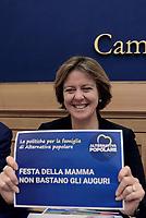 Roma, 11 Maggio 2017<br /> Beatrice Lorenzin Ministra della Salute.<br /> Conferenza stampa di presentazione delle politiche per la famiglia di Alternativa popolare.<br /> Per la Festa della mamma Alternativa Popolare, festeggia  l'entrata in vigore del Bonus Mamma, il premio nascita di 800 euro erogato dall'INPS