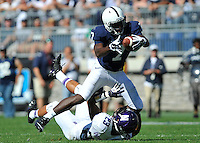 27 September 2014:  Penn State WR Eugene Geno Lewis (7) catches a pass over top of Northwestern CB Nick VanHoose (23). The Northwestern Wildcats defeated the The Penn State Nittany Lions 29-6 at Beaver Stadium in State College, PA.