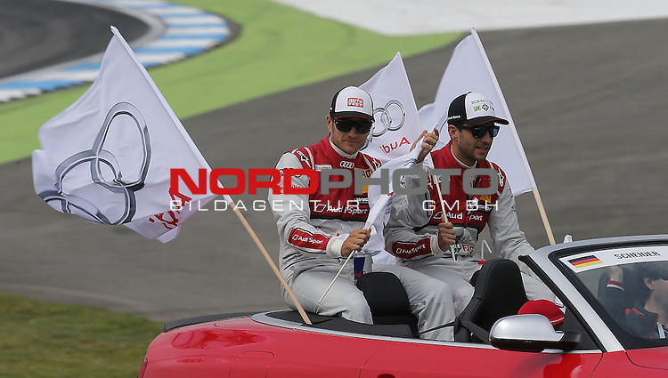 DTM 2015, 01.Lauf Hockenheimring, 01.05. - 03.05.15 <br /> Timo Scheider (DEU#10) Audi Sport Team Phoenix Audi RS 5 DTM , Mike Rockenfeller (DEU#99) Audi Sport Team Phoenix Audi RS 5 DTM <br /> <br /> <br /> <br /> Foto &copy; nordphoto /  Bratic