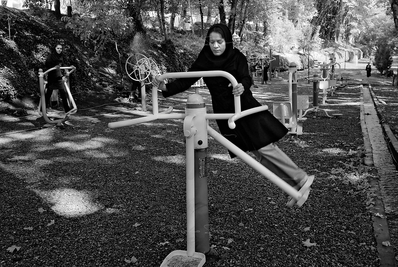 Teheran, Iran, October 2, 2007.In the garden of the Shah former summer residence, Saad Abad, Narges, Lodan and Mina, 3 museum employees, work out during a pause.
