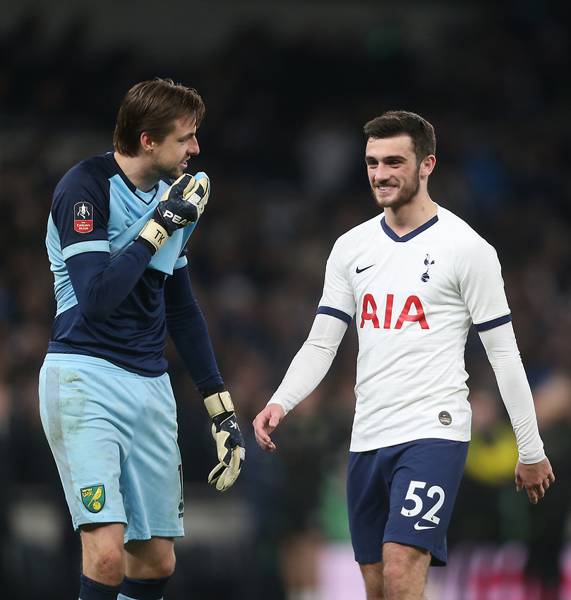 Norwich City's Tim Krul and Tottenham Hotspur's Troy Parrott share a joke during the penalty shoot-out<br /> <br /> Photographer Rob Newell/CameraSport<br /> <br /> The Emirates FA Cup Fifth Round - Tottenham Hotspur v Norwich City - Wednesday 4th March 2020 - Tottenham Hotspur Stadium - London<br />  <br /> World Copyright © 2020 CameraSport. All rights reserved. 43 Linden Ave. Countesthorpe. Leicester. England. LE8 5PG - Tel: +44 (0) 116 277 4147 - admin@camerasport.com - www.camerasport.com