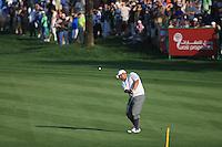 Joel Sjoholm (SWE) plays into the 18th green during Sunday's Final Round of the 2012 Omega Dubai Desert Classic at Emirates Golf Club Majlis Course, Dubai, United Arab Emirates, 12th February 2012(Photo Eoin Clarke/www.golffile.ie)