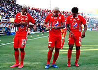 SANTIAGO DE CHILE-CHILE, 10-03-2020: Jugadores America de Cali celebran el gol anotado a Universidad Catolica, durante partido de la fase de grupos, grupo E, fecha 2, entre Universidad Catolica (CHL) y America de Cali (COL) por la Copa Conmebol Libertadores 2020, en el estadio San Carlos de Apoquindo, de la ciudad Santiago de Chile. / Players of America de Cali, celebrate a scored goal to Universidad Catolica, during a match of the groups phase, group E, 2nd date, between Universidad Catolica (CHL) of America de Cali (COL) for the Conmebol Libertadores Cup 2020, at the San Carlos de Apoquindo in Santiago de Chile.  VizzorImage / Martin Thomas / Photosport / Cont.
