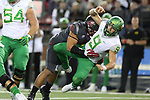 Hercules Mata'afa (50), Washington State defensive lineman, lowers the boom on the quarterback during the Cougars Pac-12 Conference game against the Oregon Ducks on October 1, 2016.   The Cougs defeated the Ducks at Martin Stadium, 51-33.