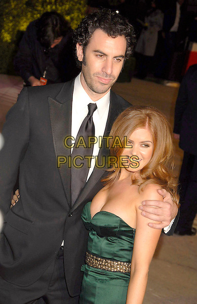 SASHA BARON COHEN & ISLA FISHER.The 2007 Vanity Fair Oscar Party Hosted by Graydon Carter held at Morton's, West Hollywood, California, USA, 25 February 2007..half length green strapless dress couple.CAP/ADM/GB.©Gary Boas/AdMedia/Capital Pictures.