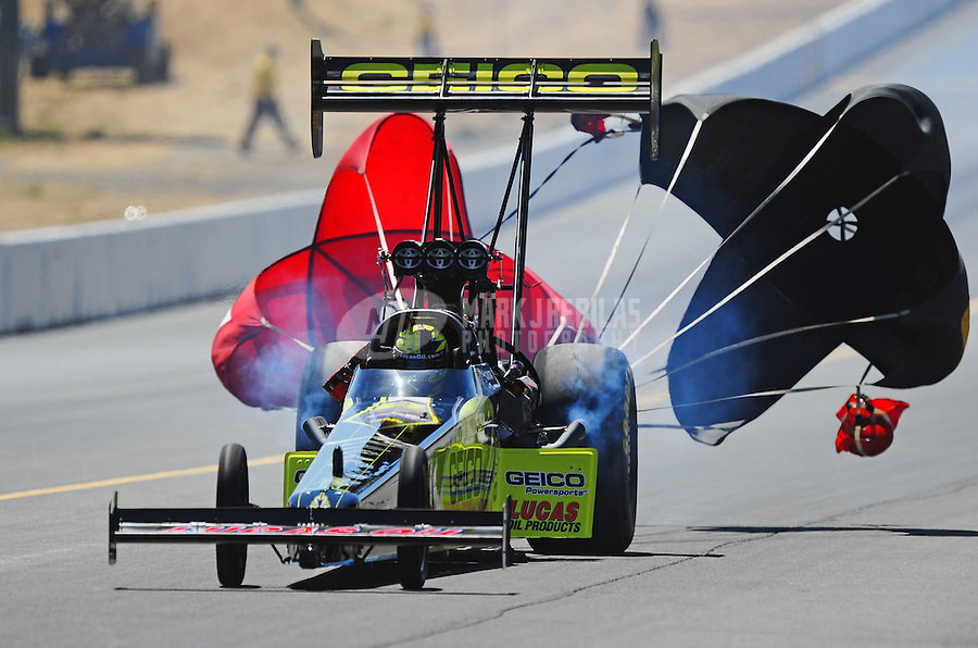 Jul. 18, 2010; Sonoma, CA, USA; NHRA top fuel dragster driver Morgan Lucas during the Fram Autolite Nationals at Infineon Raceway. Mandatory Credit: Mark J. Rebilas-