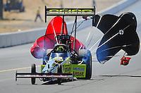Jul. 18, 2010; Sonoma, CA, USA; NHRA top fuel dragster driver Morgan Lucas during the Fram Autolite Nationals at Infineon Raceway. Mandatory Credit: Mark J. Rebilas-