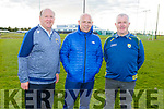Joey Carton, Derek McGrath and Ger McCarthy at the launch of the Kerry Puc Fada hurling competition at the Centre of Excellence in Currans on Tuesday