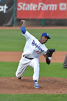 Abdiel Velasquez (40) of the Ogden Raptors delivers a pitch to the plate against the Grand Junction Rockies during Opening Night of the Pioneer League Season on June 16, 2014 at Lindquist Field in Ogden, Utah. (Stephen Smith/Four Seam Images)
