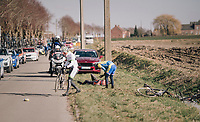 crash in the peloton<br /> <br /> 50th GP Samyn 2018<br /> Quaregnon > Dour: 200km (BELGIUM)