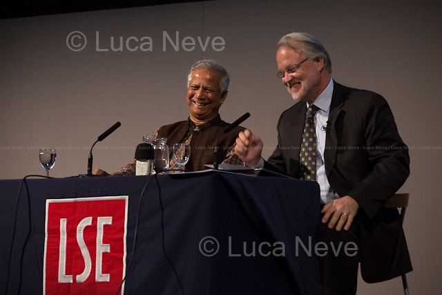 "London 20/05/2013. Today, the LSE (London School of Economics) presented a public lecture called ""Banker to the Poor: Lifting Millions Out of Poverty through Social Business"" hosted by Professor Muhammad Yunus (Bangladeshi Professor of economics, he developed the concepts of microcredit and microfinance; in 2006 Yunus and Grameen Bank received the Nobel Peace Prize ""for their efforts through microcredit to create economic and social development from below""; in 2010 he was awarded the U.S. Congressional Gold Medal in 2010). Chair of the event was Professor Craig Calhoun (American sociologist and Director of LSE).<br />