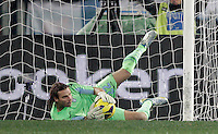 Calcio, semifinale di ritorno di Coppa Italia: Lazio vs Juventus. Roma, stadio Olimpico, 29 gennaio 2013..Lazio goalkeeper Federico Marchetti grabs the ball during the Italy Cup football semifinal return leg match between Lazio and Juventus at Rome's Olympic stadium, 29 January 2013..UPDATE IMAGES PRESS/Riccardo De Luca