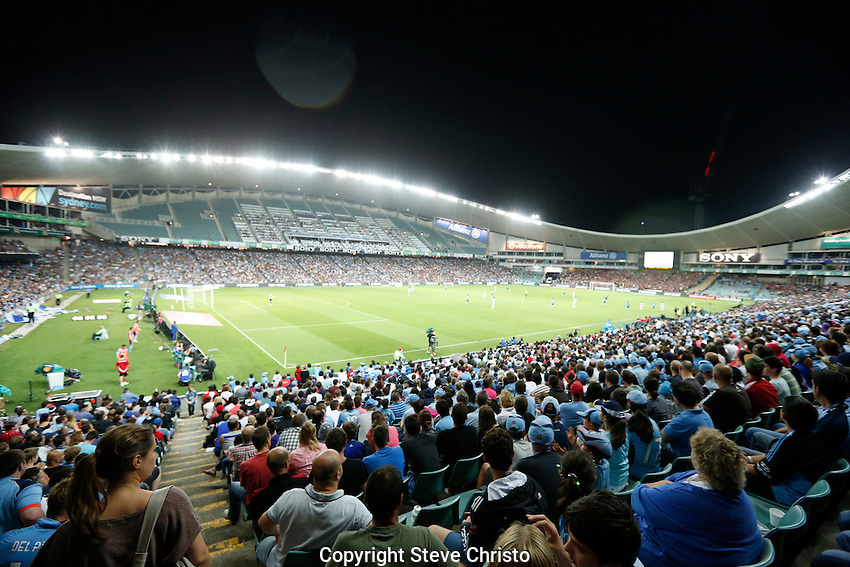 A-League Sydney FC v Western Sydney Wanderers at Allianz Stadium. The first Sydney Derby played in front of a big Sydney crowd. Part of the crowd at Allianz Stadium. Sydney, Australia. Saturday 15th December 2012. Photo: (Steve Christo)