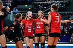 25.08.2018, …VB Arena, Bremen<br />Volleyball, LŠ&auml;nderspiel / Laenderspiel, Deutschland vs. Niederlande<br /><br />Jubel Louisa Lippmann (#11 GER), Lenka DŸrr / Duerr (#1 GER), Jennifer Geerties (#6 GER), Maren Fromm (#4 GER), Denise Hanke (#3 GER)<br /><br />  Foto &copy; nordphoto / Kurth