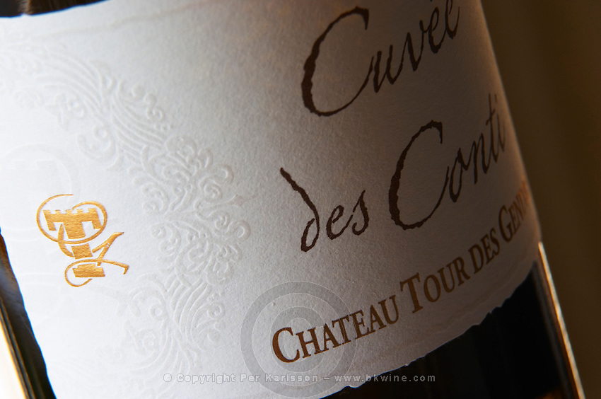 Cuvee des Conti Chateau Tour des Gendres, Bergerac, detail of label Bergerac Dordogne France