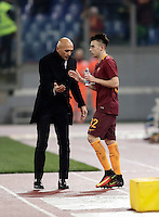 Calcio, Serie A: Roma vs ChievoVerona. Roma, stadio Olimpico, 22 settembre 2016.<br /> Roma&rsquo;s Stephan El Shaarawy, right, is congratulated by coach Luciano Spalletti after scoring on a free kick during the Italian Serie A football match between Roma and Chievo Verona, at Rome's Olympic stadium, 22 December 2016.<br /> UPDATE IMAGES PRESS/Isabella Bonotto