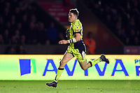 Sam James of Sale Sharks runs in a second half try. Aviva Premiership match, between Harlequins and Sale Sharks on October 6, 2017 at the Twickenham Stoop in London, England. Photo by: Patrick Khachfe / JMP