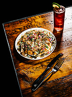 An Okonomiyaki dish with the diablo cocktail at The Way Back restaurant in Denver, Colorado, Friday, January 11, 2019. <br /> <br /> Photo by Matt Nager