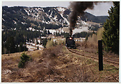 Front view of engine #497 coming up Cumbres Pass.<br /> C&amp;TS  Cumbres Pass area, CO