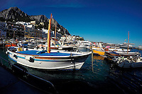 Boats are docked in the Marina Grande on Monday, Sept. 21, 2015, off the island of Capri in Italy. (Photo by James Brosher)