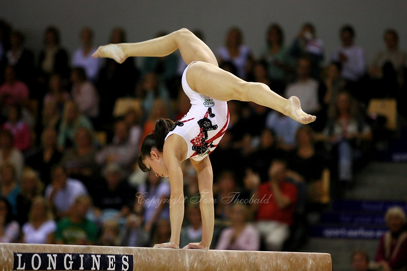Oct 19, 2006; Aarhus, Denmark; Winner in women's gymnastics All-Around competition is Vanessa Ferrari of Italy (gold). Here Ferrari competes on balance beam.<br />