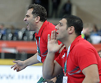 21.01.2013 Barcelona, Spain. IHF men's world championship, Eighth Final. Picture show Assem Abdeltawab  in action during game slovenia vs Egypt at Palau St Jordi