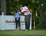 Bethesda, MD - June 28, 2014: Morgan Hoffmann takes a shot from the tee on hole 13 in the third round of the Quicken Loans National at the Congressional Country Club in Bethesda, MD, June 28, 2014.  (Photo by Don Baxter/Media Images International)