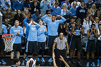 BROOKLYN, NY - Saturday December 19, 2015: The North Carolina bench celebrates a comfortable lead against UCLA as the two square off in the CBS Classic at Barclays Center in Brooklyn, NY.