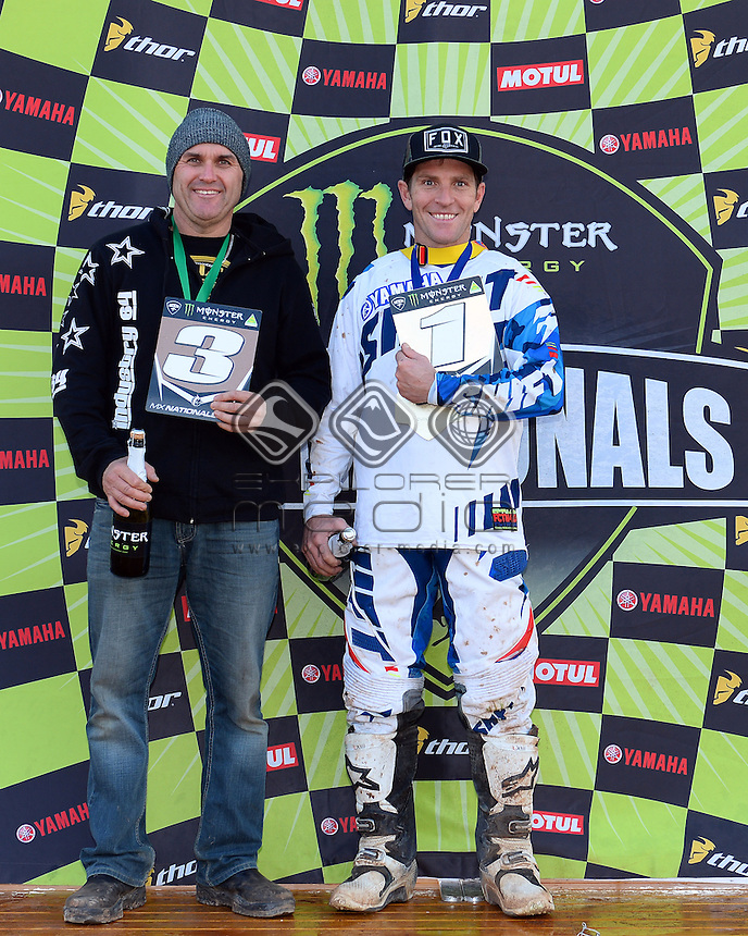 Cameron Taylor takes out the overall rd win ; 3rd place - Paul Novak<br /> MXN Round 6 - Swan Hill / Vets 40+<br /> 2014 Monster Energy MX Nationals<br /> Australian Motocross Championship<br /> Swan Hill, VIC 29 June 2014<br /> &copy; Sport the library / Jeff Crow