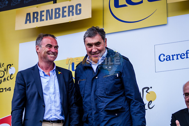 Eddy Mercks, Bernard Hinault, Tour de France, Stage 5: Ypres > Arenberg Porte du Hainaut, UCI WorldTour, 2.UWT, Wallers, France, 9th July 2014, Photo by Thomas van Bracht / Peloton Photos