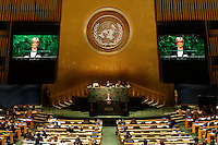 Australian Foreign Minister Julie Bishop delivers a National Statement at the SDG Summit Plenary in the General Assembly Hall at UN Headquarters in New York, Sunday September 27, 2015. photo by Trevor Collens