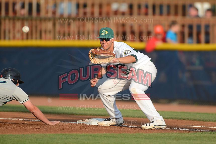 Beloit Snappers first baseman Matt Olson #21 during a game against the Cedar Rapids Kernels on May 22, 2013 at Pohlman Field in Beloit, Wisconsin.  Beloit defeated Cedar Rapids 7-6.  (Mike Janes/Four Seam Images)