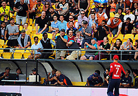 A six goes into the crowd behind the NZ dugout during the International Twenty20 cricket match between the NZ Black Caps and England at Westpac Stadium in Wellington, New Zealand on Tuesday, 13 February 2018. Photo: Dave Lintott / lintottphoto.co.nz
