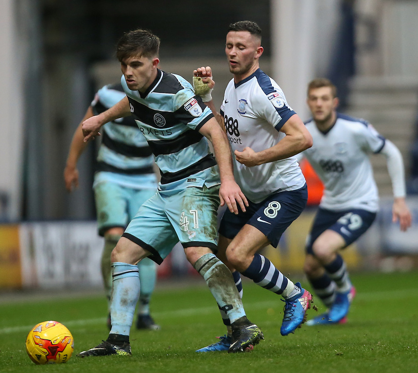 Preston North End's Alan Browne vies for possession with Queens Park Rangers' Ryan Manning<br /> <br /> Photographer Alex Dodd/CameraSport<br /> <br /> The EFL Sky Bet Championship - Preston North End v Queens Park Rangers - Saturday 25th February 2017 - Deepdale - Preston<br /> <br /> World Copyright &copy; 2017 CameraSport. All rights reserved. 43 Linden Ave. Countesthorpe. Leicester. England. LE8 5PG - Tel: +44 (0) 116 277 4147 - admin@camerasport.com - www.camerasport.com