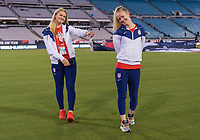 , FL - : Lindsey Horan #9 and Becky Sauerbrunn #4 of the United States walk off the field during a game between  at  on ,  in , Florida.