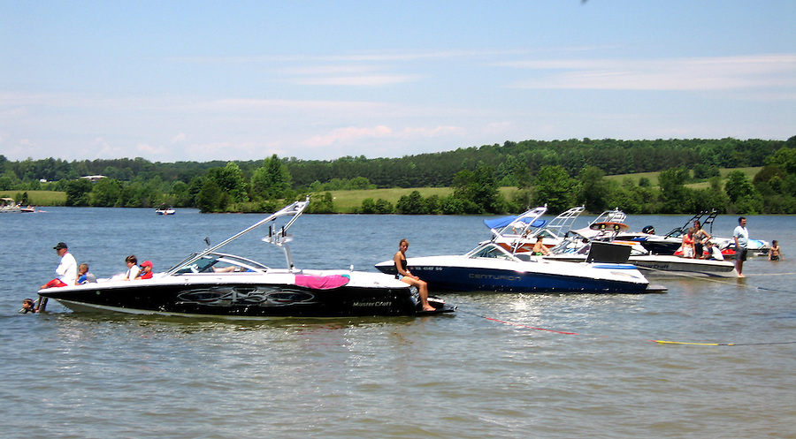 Boats line the shores of Lake Anna.  water ski boat