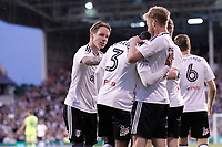 Ryan Sessegnon of Fulham is congratulated for his goal during the Sky Bet Championship play off semi final 2nd leg match between Fulham and Derby County at Craven Cottage, London, England on 15 May 2018. Photo by Carlton Myrie / PRiME Media Images.