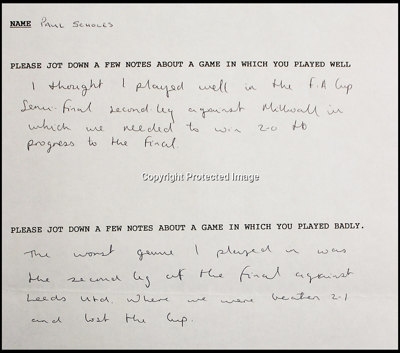 BNPS.co.uk (01202 558833)<br /> Pic: BNPS.co.uk<br /> <br /> Handwritten notes by young football star Paul Scholes shows how he was trained to analyse his playing. <br /> <br /> The boy done good... An extraordinary video showing a rough-and-ready David Beckham practicing speaking to the media before he became famous has emerged for sale &pound;3,000. The soccer legend was caught on camera as a 17-year-old during a role-play interview about a football match he played in for the Manchester United youth team. The fresh-faced future England captain spoke in a common London accent and used words like 'nuffink' and 'yoof' during the clip. As well as the practice TV interviews, he also had to write down his best and worst game up until that point.