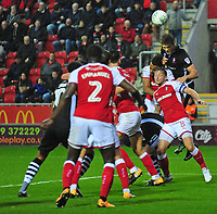 Lincoln City's Sean Raggett gets above Rotherham United's Lee Frecklington to win a header<br /> <br /> Photographer Andrew Vaughan/CameraSport<br /> <br /> The Carabao Cup First Round - Rotherham United v Lincoln City - Tuesday 8th August 2017 - New York Stadium - Rotherham<br />  <br /> World Copyright &copy; 2017 CameraSport. All rights reserved. 43 Linden Ave. Countesthorpe. Leicester. England. LE8 5PG - Tel: +44 (0) 116 277 4147 - admin@camerasport.com - www.camerasport.com