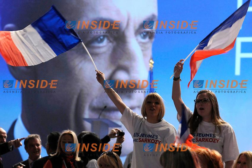 Nicholas Sarkozy.Marsiglia 19/02/2012 Meeting di Nicholas Sarkozy candidato alle Elezioni con il partito UMP Unione per il Movimento Popolare..Photo Franck Pennant/ Panoramic/ Insidefoto .ITALY ONLY